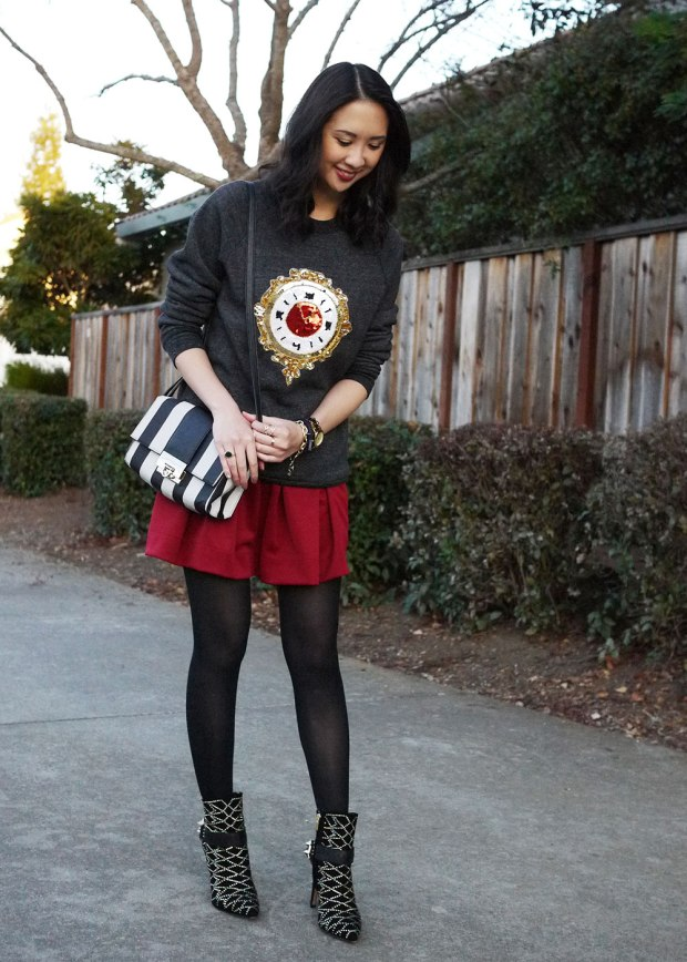 17_01_bow_and_drape_billie_sweatshirt_sequin_clock_christmas_holiday_red_skirt_asos_sam_edelman_mila