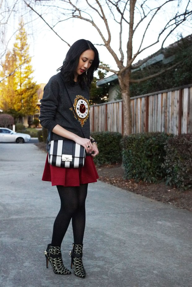 17_05_bow_and_drape_billie_sweatshirt_sequin_clock_christmas_holiday_red_skirt_asos_sam_edelman_mila