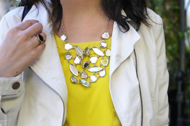 26_03_zara_white_leather_jacket_zara_mini_skort_yellow_colorblock_Isharya_mirror_bib_necklace_asos_black_white_striped_bag
