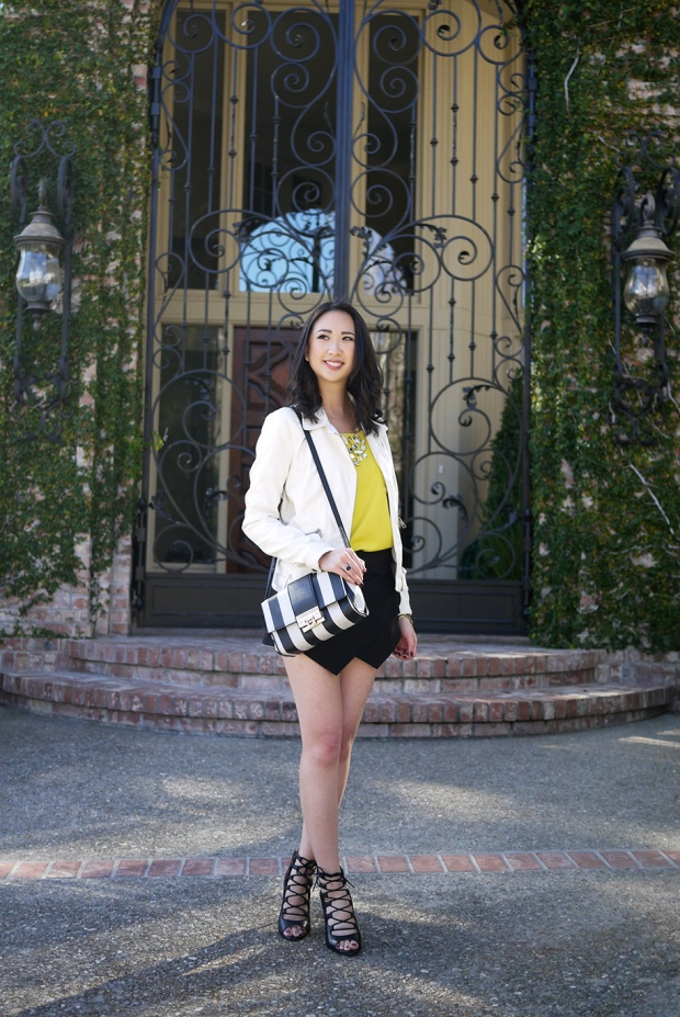 26_05_zara_white_leather_jacket_zara_mini_skort_yellow_colorblock_Isharya_mirror_bib_necklace_asos_black_white_striped_bag