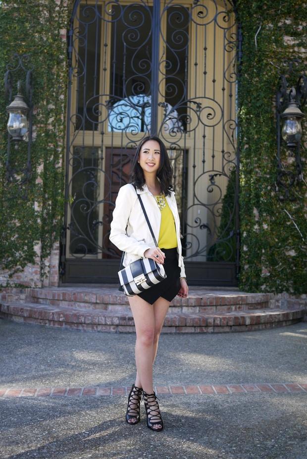 26_05_zara_white_leather_jacket_zara_mini_skort_yellow_colorblock_Isharya_mirror_bib_necklace_asos_black_white_striped_bag