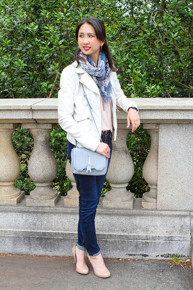 56_00_clubmonaco_pink_top_danielle_nicole_crcrossbody_printed_scarf_zara_white_leather_jacket_nude_pumps