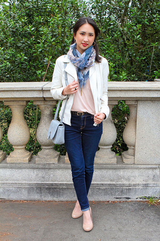 56_01_clubmonaco_pink_top_danielle_nicole_crcrossbody_printed_scarf_zara_white_leather_jacket_nude_pumps