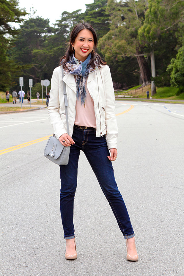 56_05_clubmonaco_pink_top_danielle_nicole_crcrossbody_printed_scarf_zara_white_leather_jacket_nude_pumps