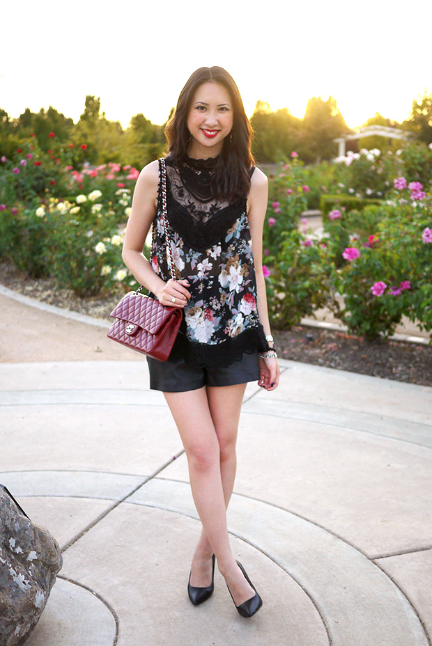 floral, lace, leather with Chanel 2.55 red