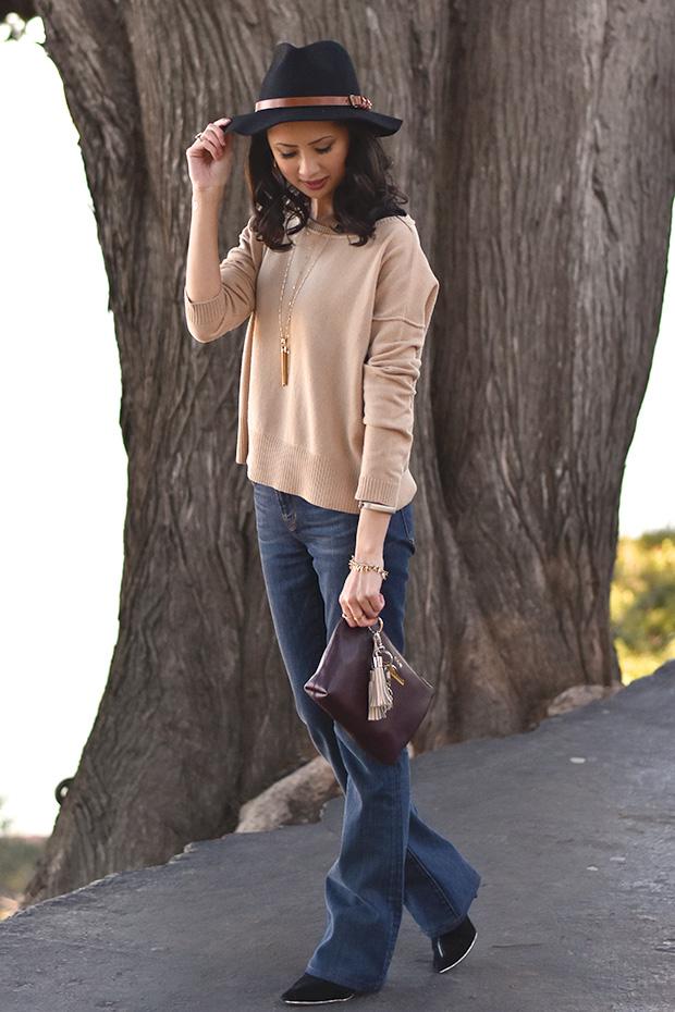 103_07_cuyana_zipper_pouch_sweater_keychain_TheodoraCallum_panama_hat_jbrand_flare_jeans